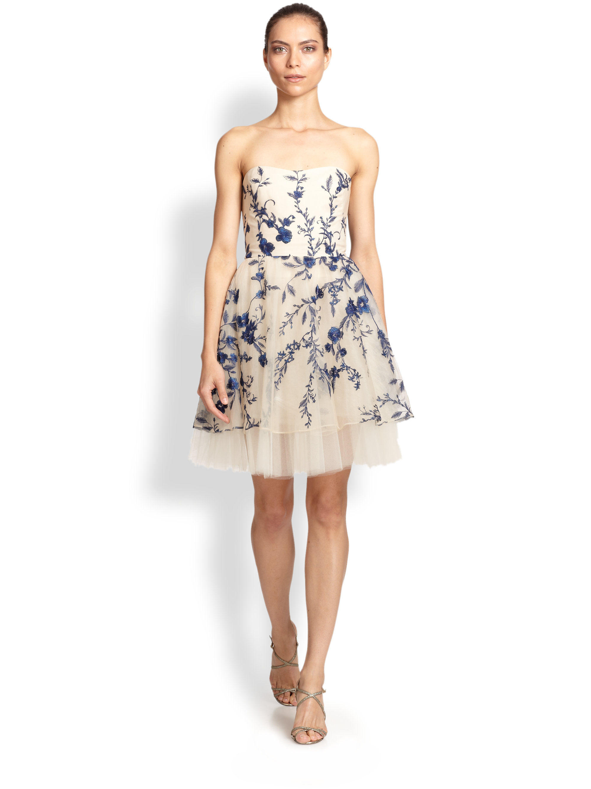 7db31eee171 Marchesa notte Strapless Floral-Embroidered Cocktail Dress in Pink ...