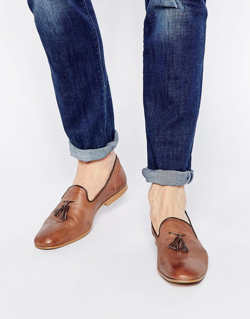 dc67858cfbf Lyst - ASOS Tassel Loafers In Washed Leather in Brown for Men