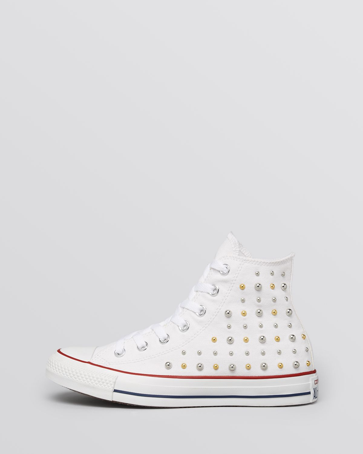 2149b4cc5710 Converse Lace Up High Top Sneakers - Canvas Studded in White - Lyst