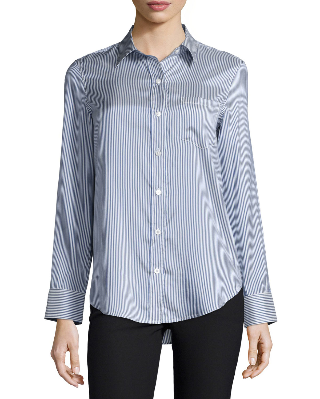 Lyst theory simara striped silk button down shirt in blue for Silk button down shirt