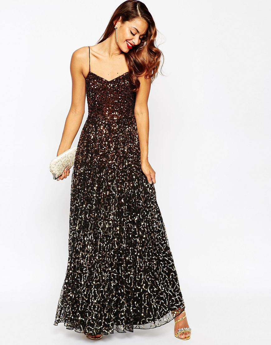 Star is born embellished crepe maxi dress in metallic lyst - Gallery Asos Red Carpet Tered Gold Ombre Embellished Maxi Dress