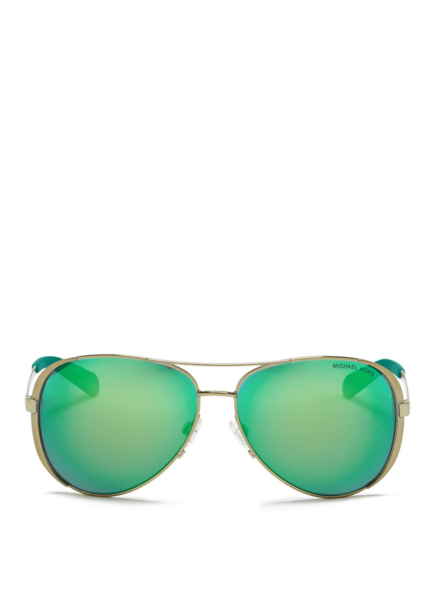 Michael Kors Mirrored Sunglasses  michael kors chelsea coated metal mirror aviator sunglasses in