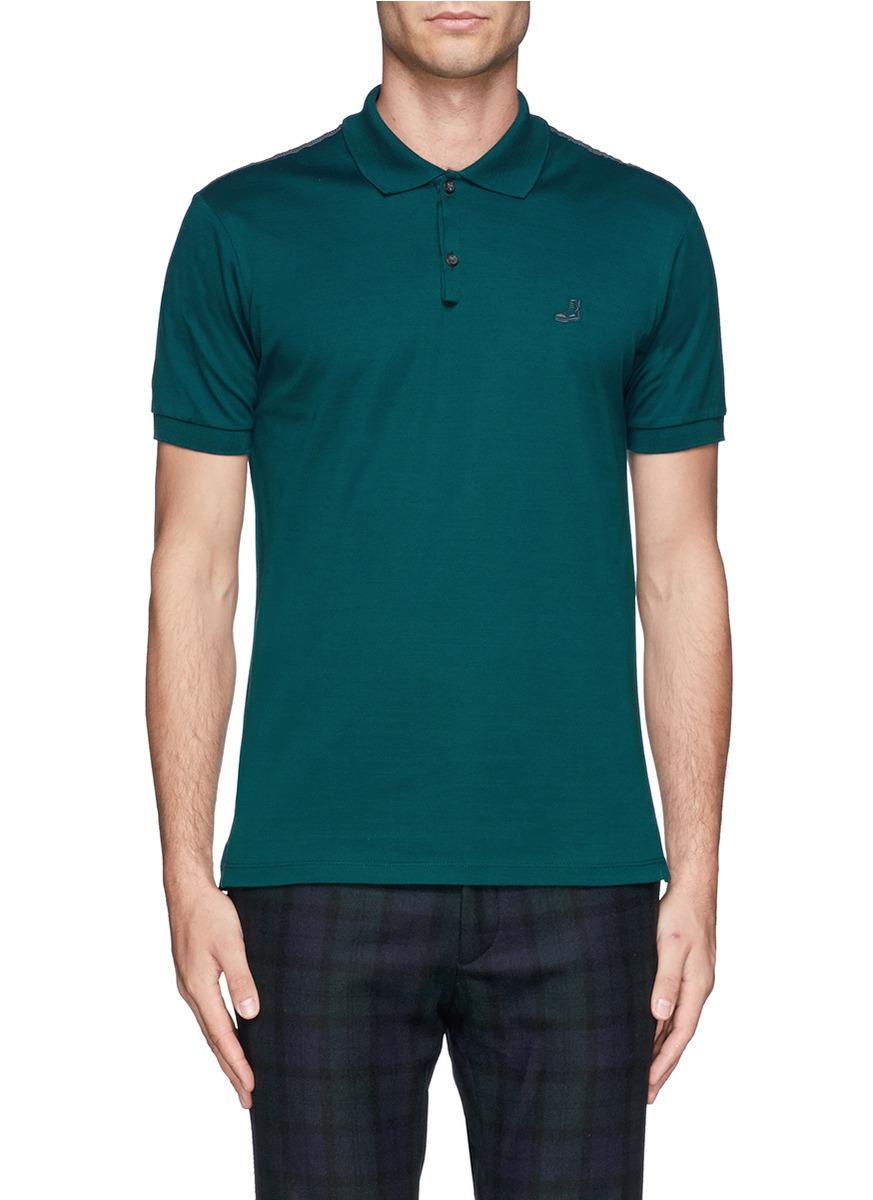 Lyst lanvin sneaker logo cotton polo shirt in green for men for Cotton on polo shirt