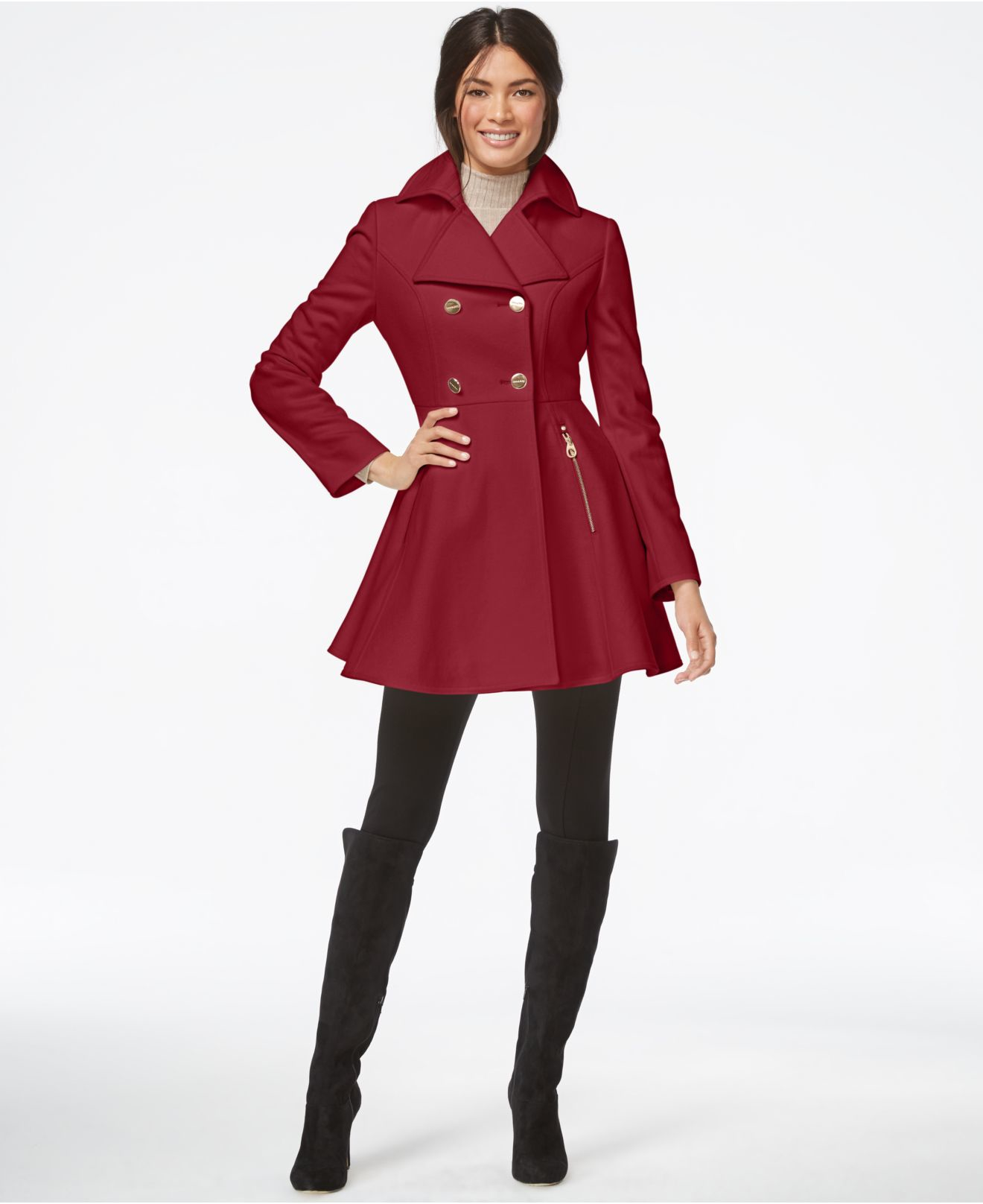 Laundry by shelli segal Petite Double-breasted Flared Peacoat in ...