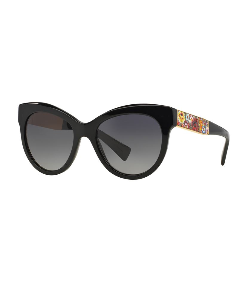 f771e008f4b9 Dolce And Gabbana Round Flower Sunglasses. Lyst - Dolce   Gabbana Round  Frame Floral Plaque Sunglasses in Black