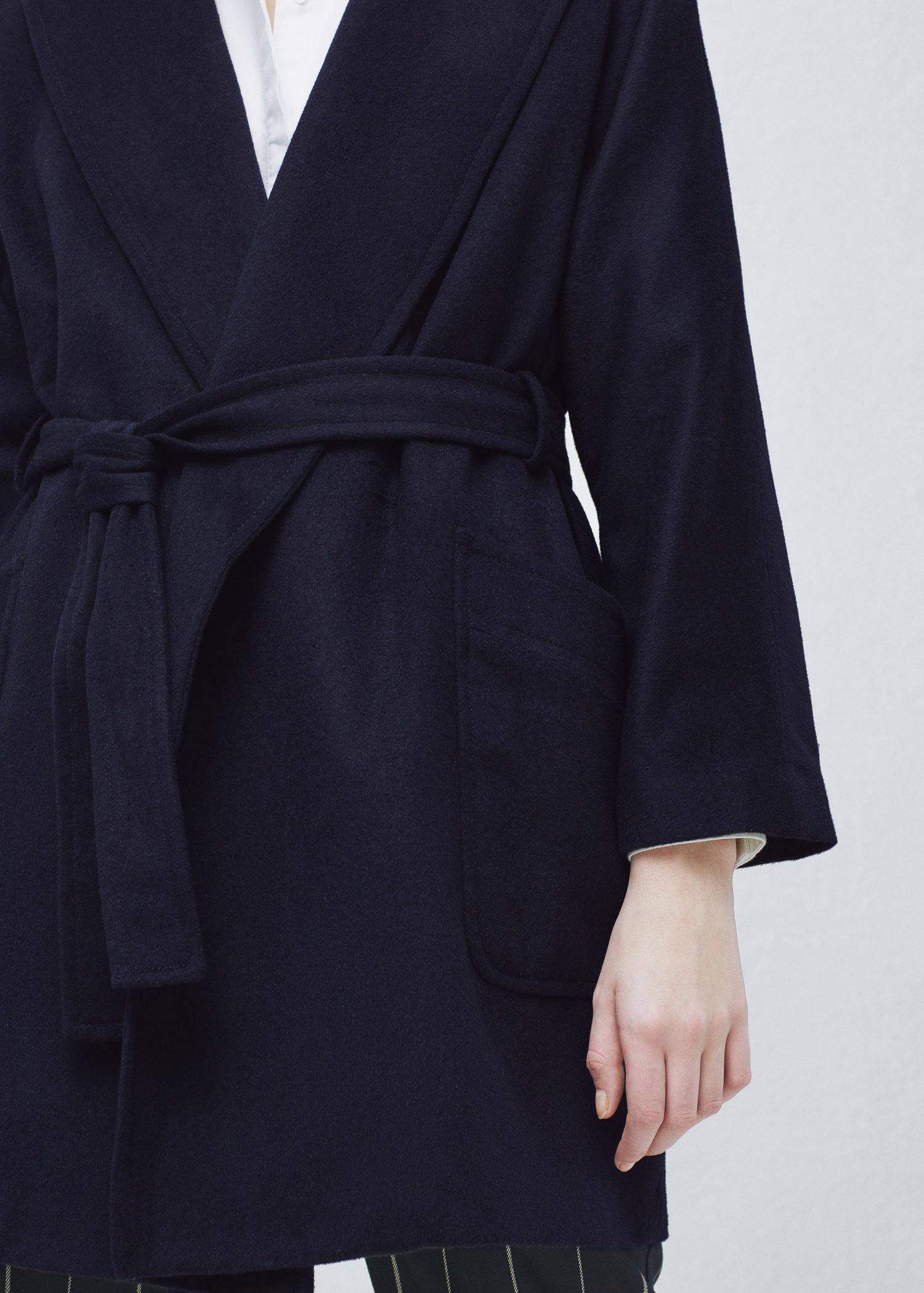 Mango Belt Wool Coat in Blue | Lyst