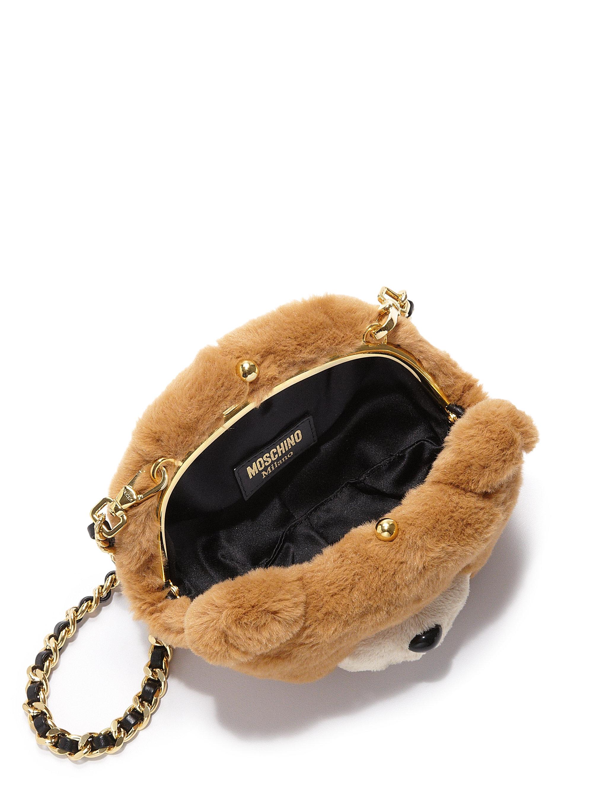 d635328eeda0 Lyst Moschino Teddy Bear Faux Fur Crossbody Bag In Brown