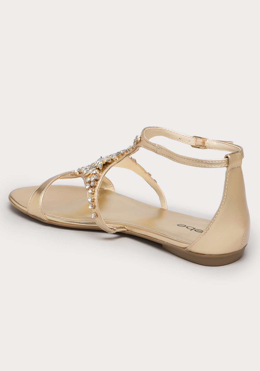 c2d0e44d9abf26 Lyst - Bebe Jaden Jeweled Flat Sandals in Metallic