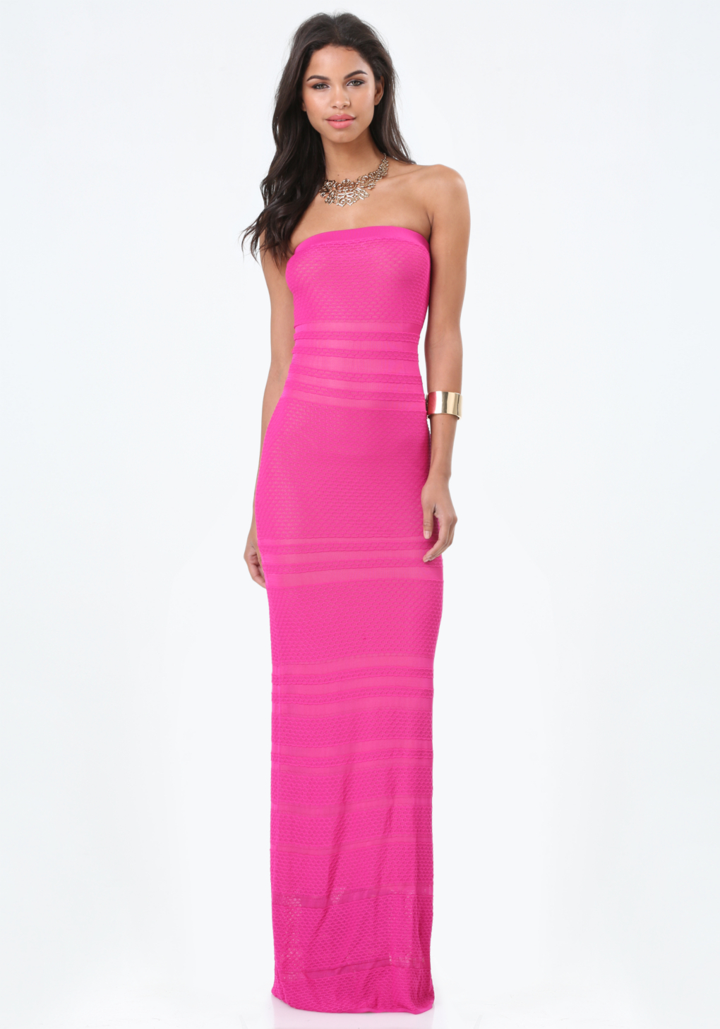 Lyst Bebe Sheer Strapless Maxi Dress In Pink