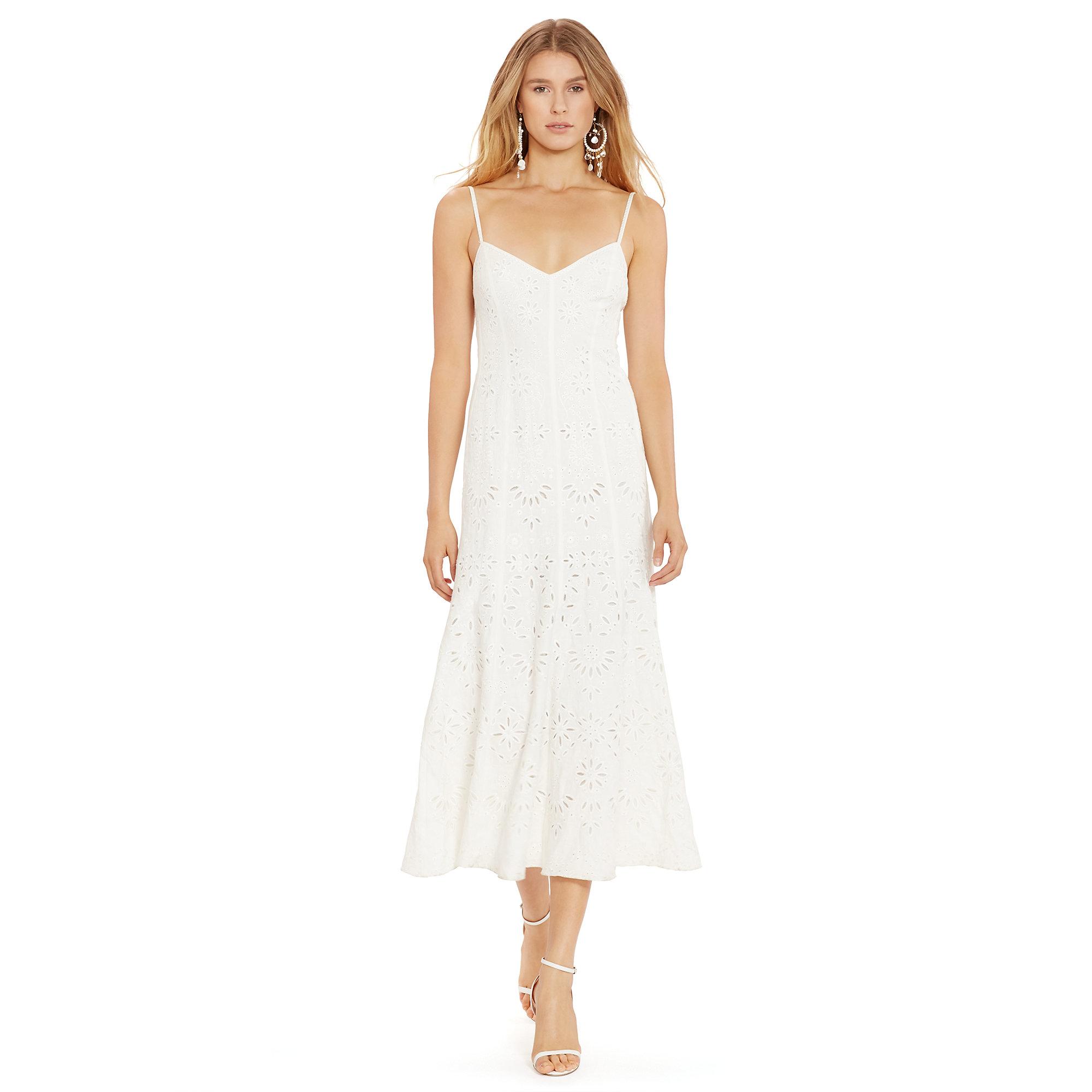 d86e4d80c54 Lyst - Polo Ralph Lauren Eyelet Linen Maxidress in White