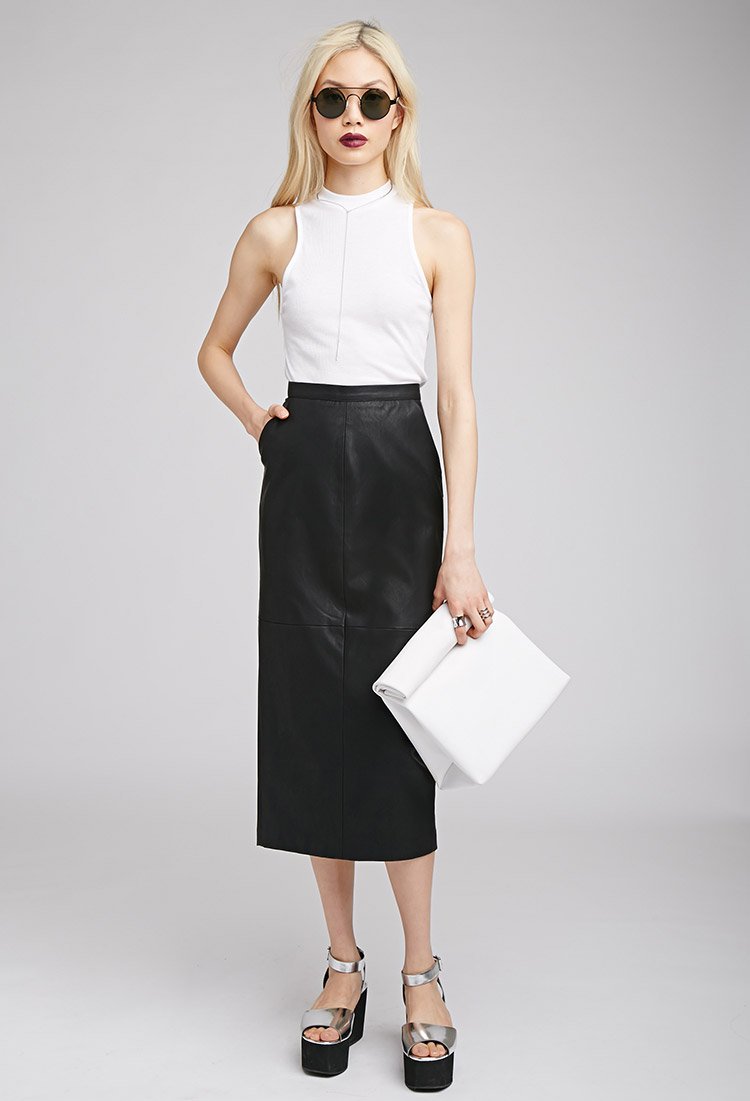 Forever 21 Faux Leather Midi Pencil Skirt in Black | Lyst