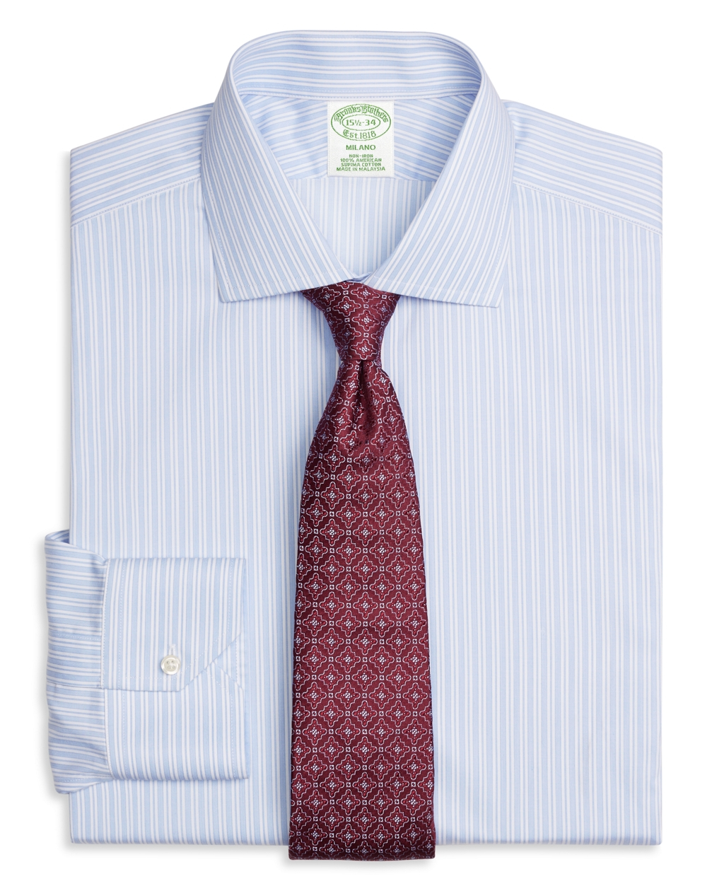 Brooks brothers non iron milano fit stripe dress shirt in for Brooks brothers dress shirt fit