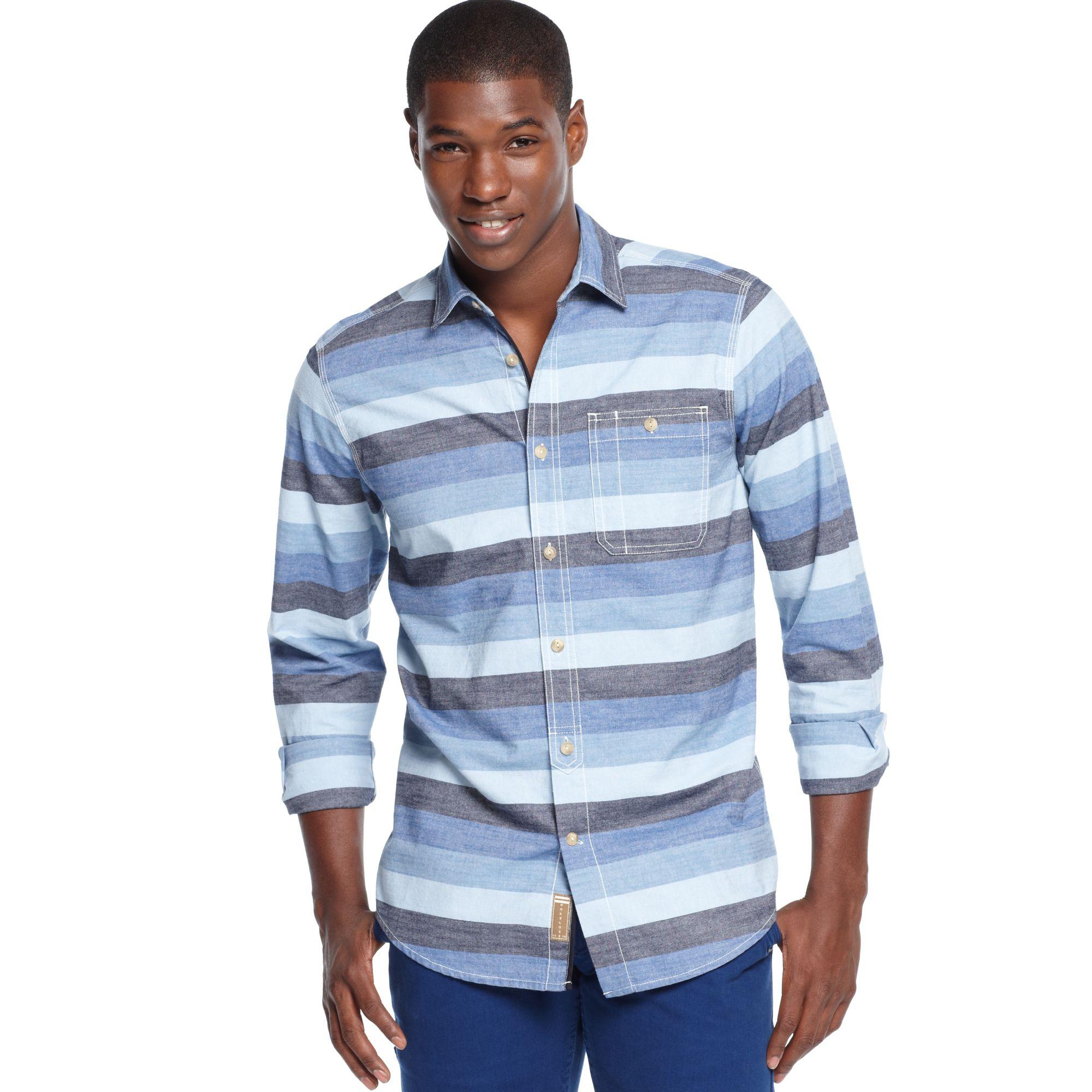 Sean john horizontal striped shirt in blue for men lyst for Horizontal striped dress shirts men