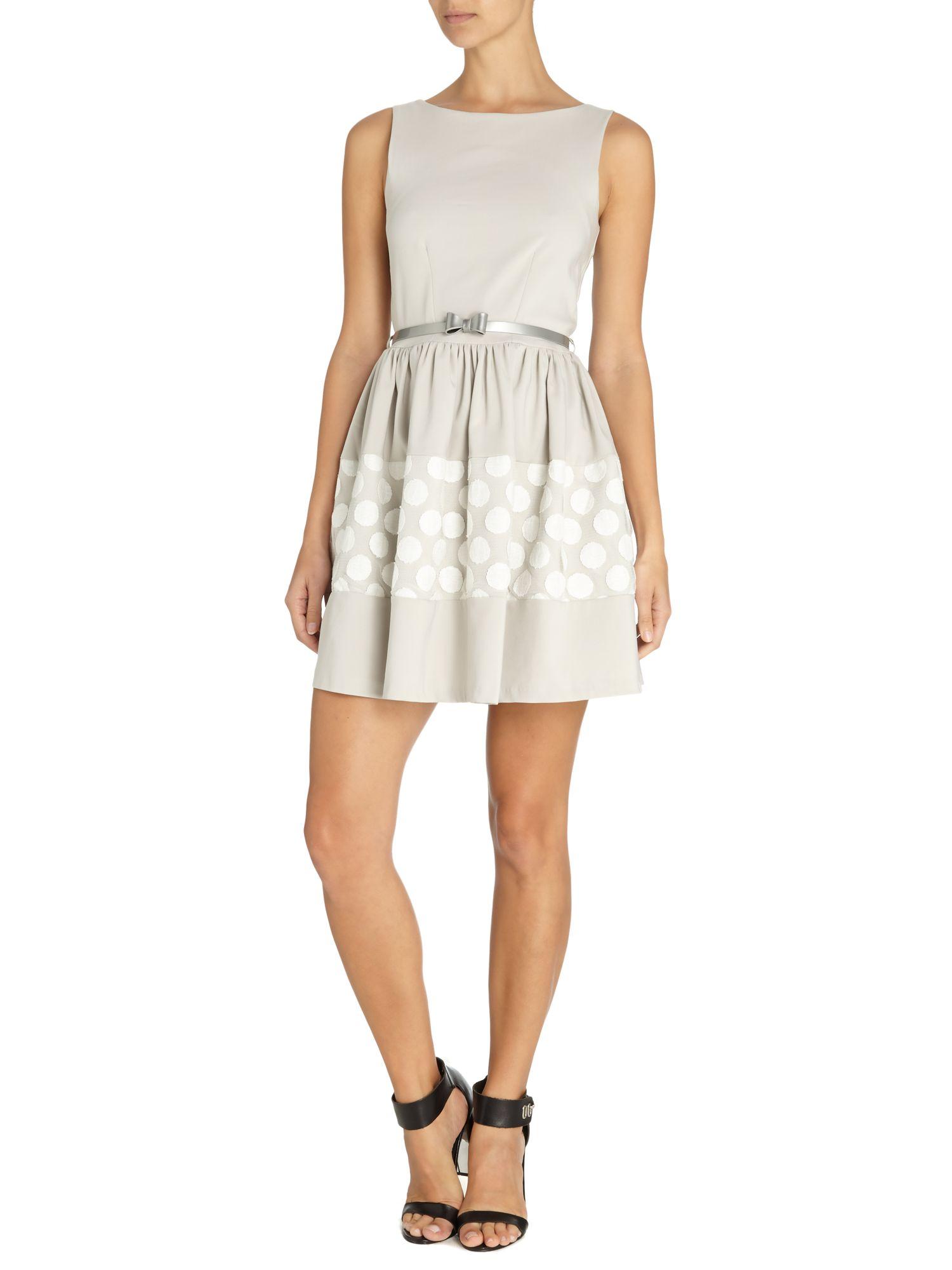 almari big spot lace bow belt dress in gray lyst