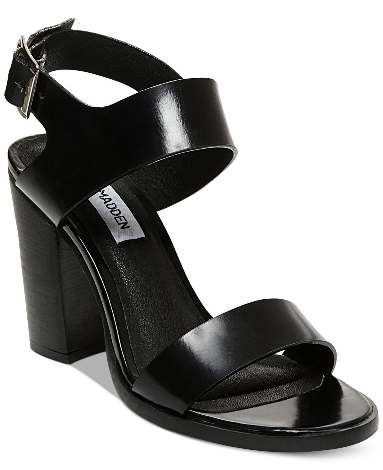 Lyst Steve Madden Women S Blaair Block Heel Sandals In Black