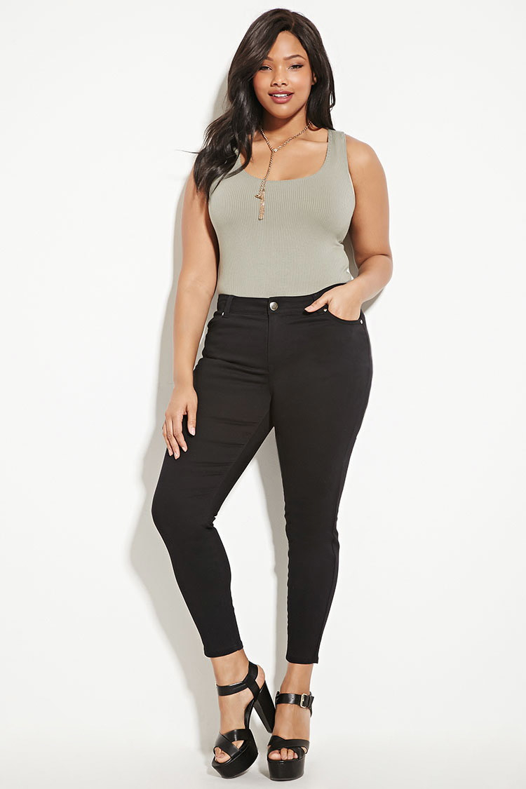 Forever 21 Plus Size Skinny Jeans in Black | Lyst