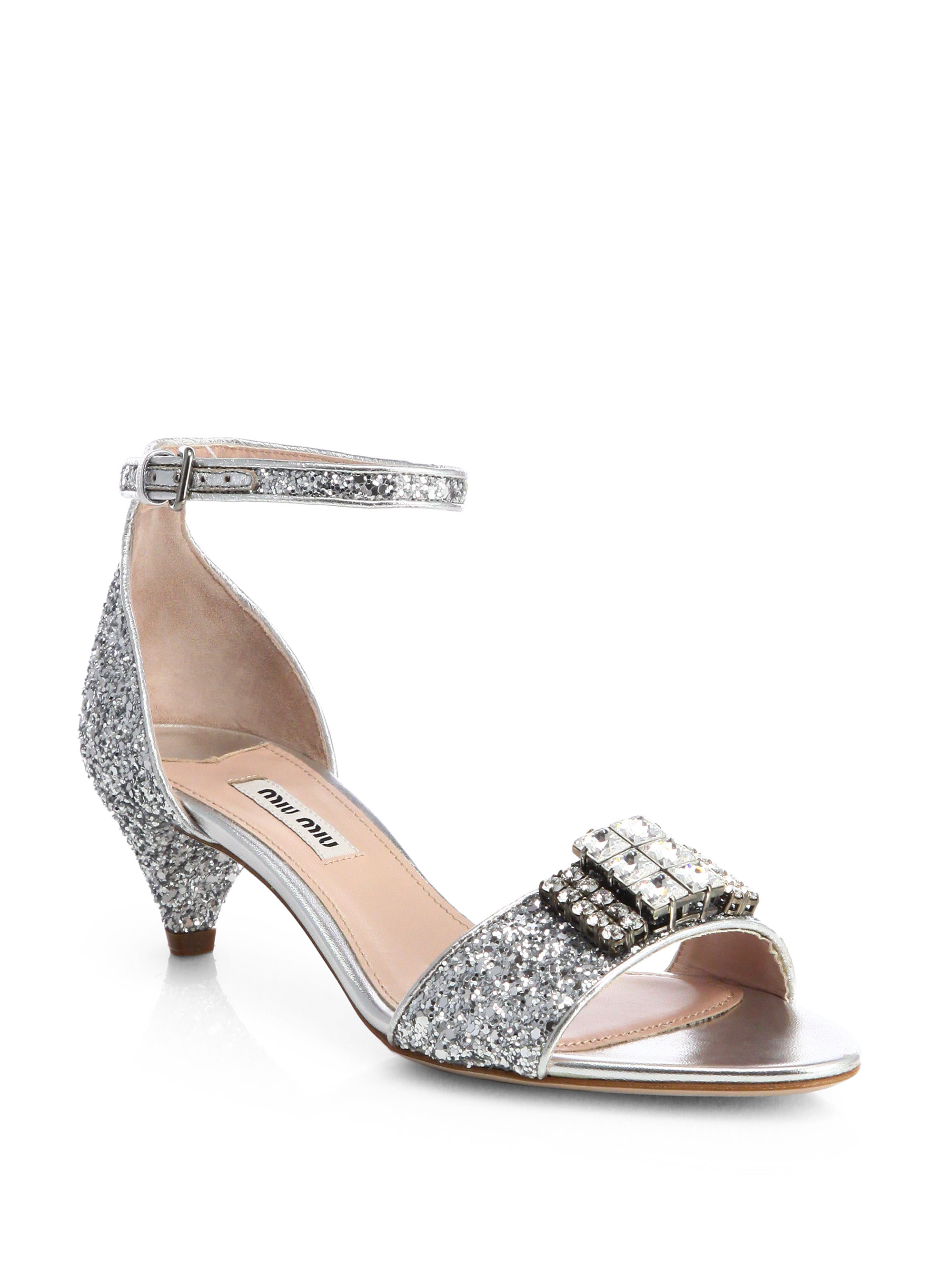 Miu miu Jeweled Glitter Kittenheel Sandals in Metallic | Lyst