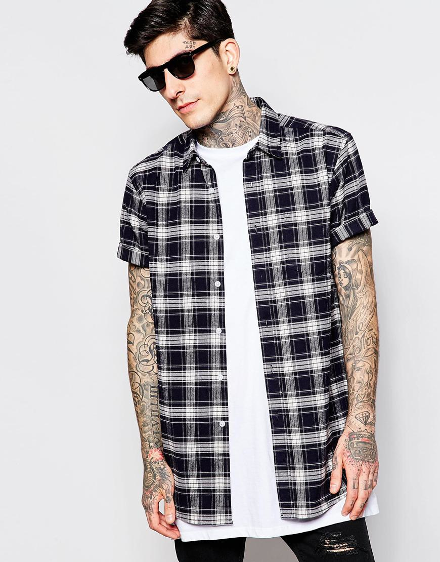 asos longline shirt with navy flannel check in short