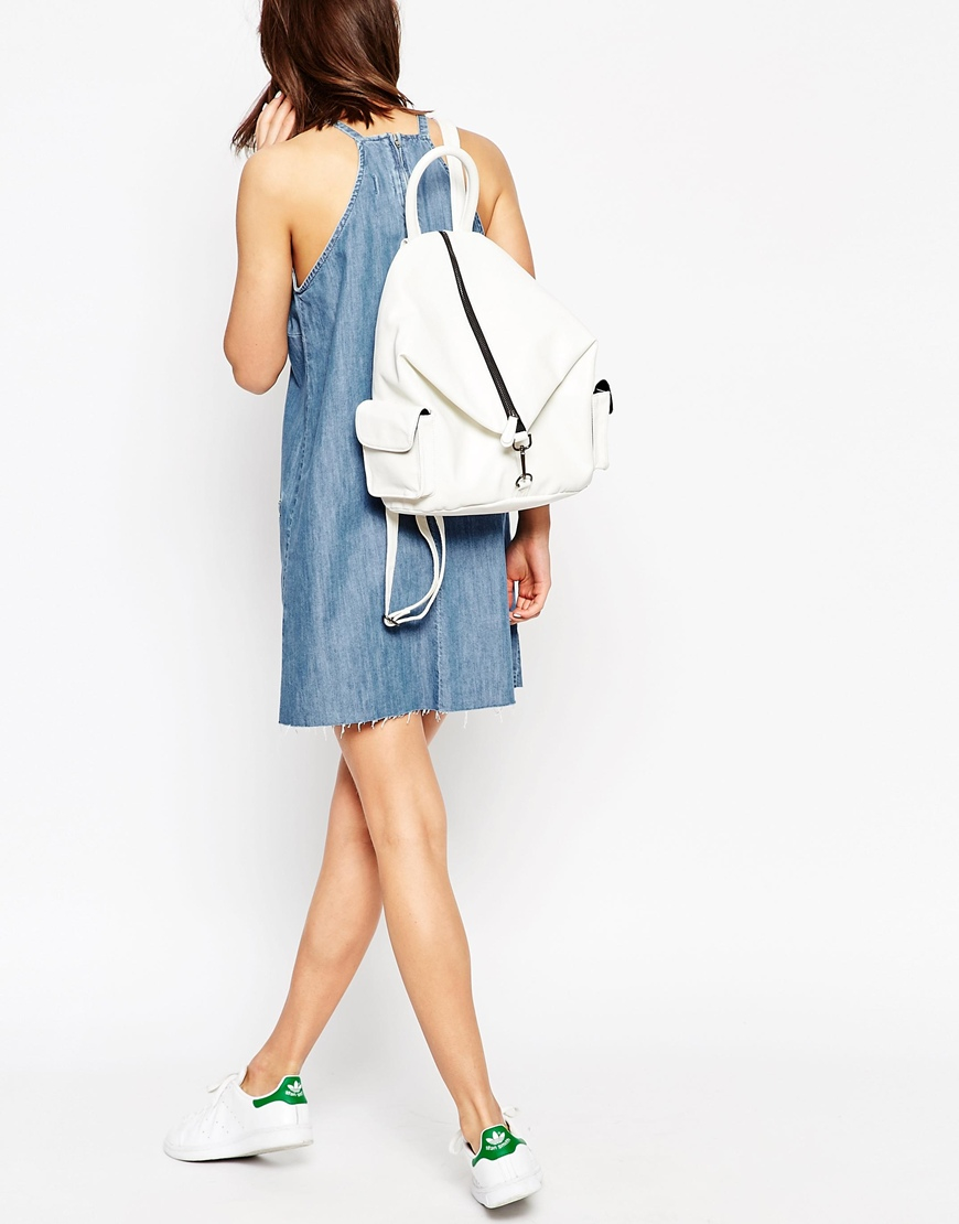 Asos Front Zip Backpack With Dog Clip And Pockets in White | Lyst