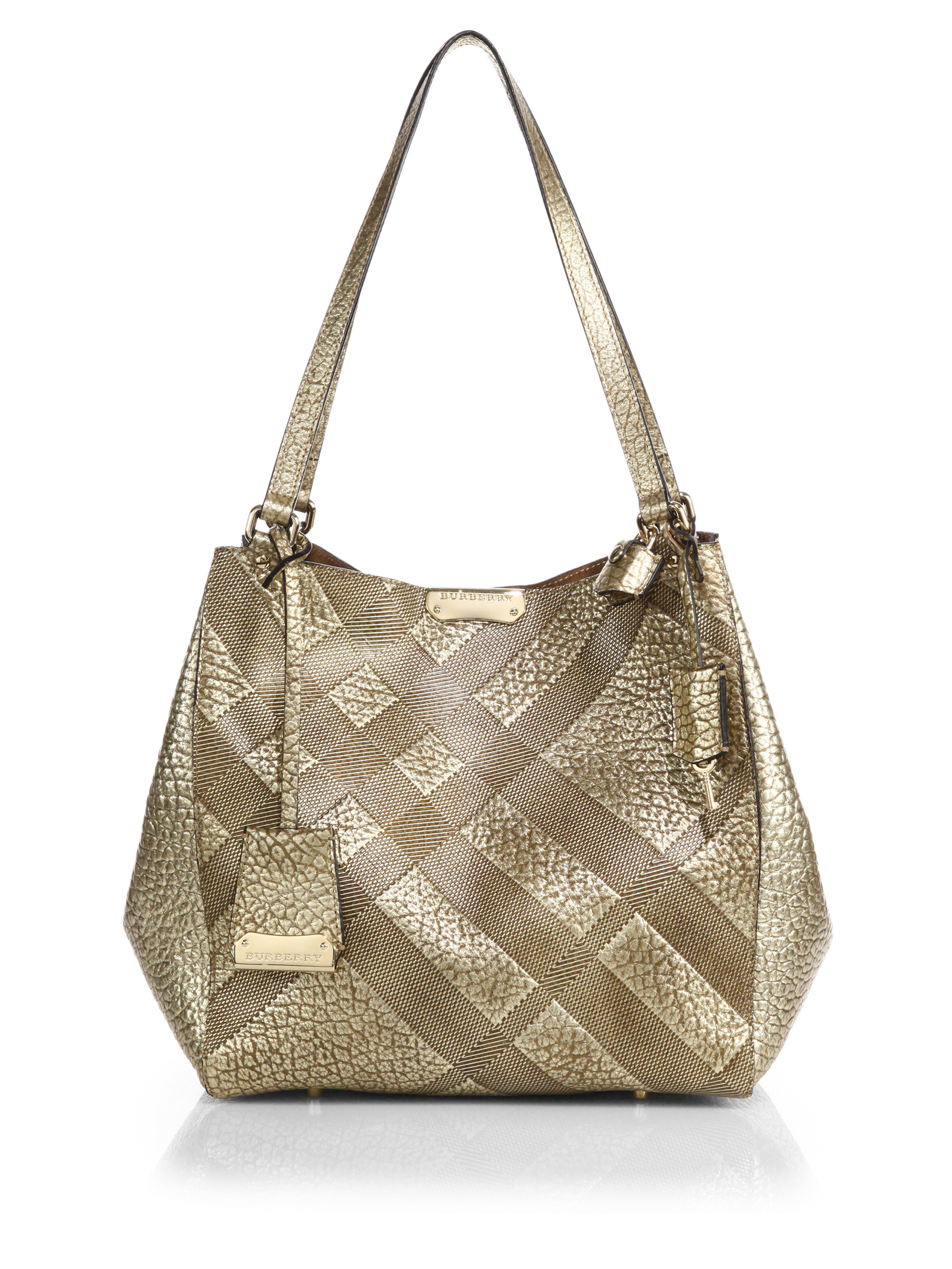 8516affb0e1 Burberry Canterbury Small Metallic Plaid-Embossed Pebbled-Leather ...