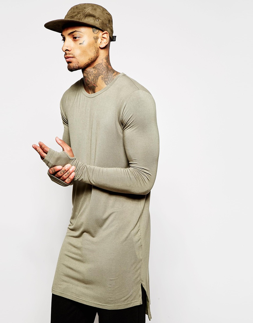 9cfd424d4734 Underated Super Longline Long Sleeve T-shirt in Green - Lyst