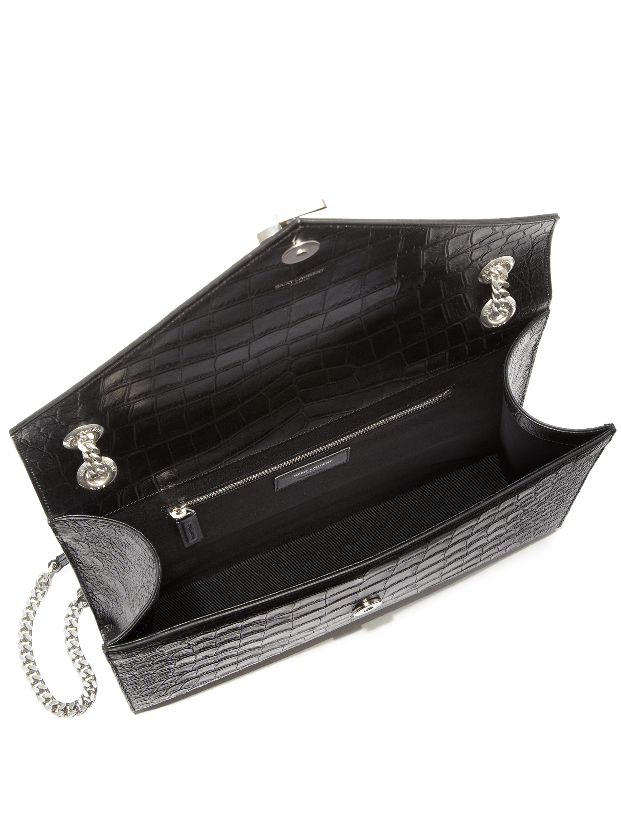 iv sen loren shoes - Saint laurent Monogram Medium Crocodile-embossed Leather Envelope ...