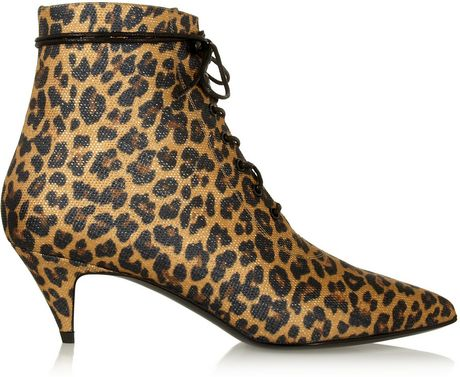 laurent leopard print canvas ankle boots in animal