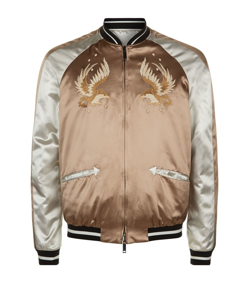 Valentino Eagle Satin Bomber Jacket in Brown for Men | Lyst