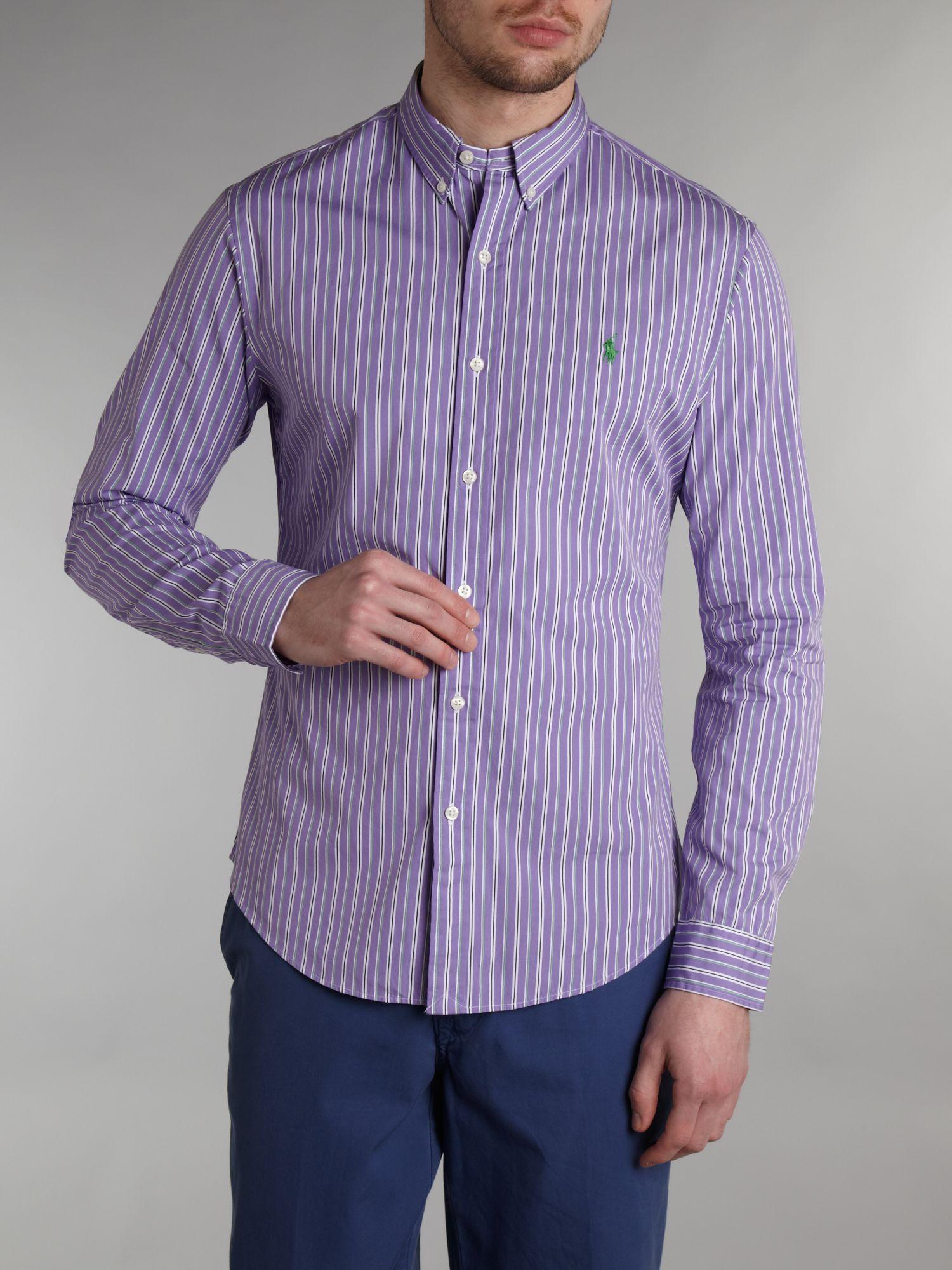 Polo ralph lauren long sleeved gingham shirt in purple for for Long sleeve purple polo shirt