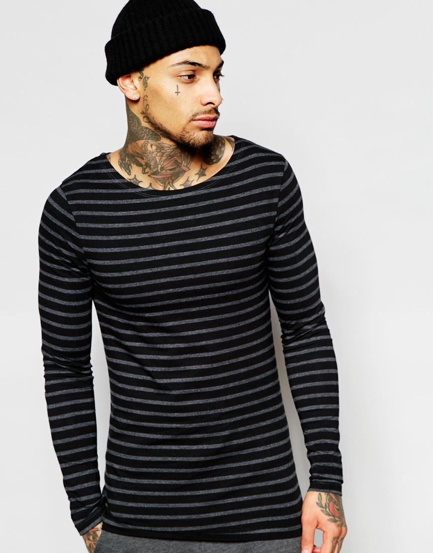 Asos Extreme Muscle Stripe Long Sleeve T Shirt With Boat