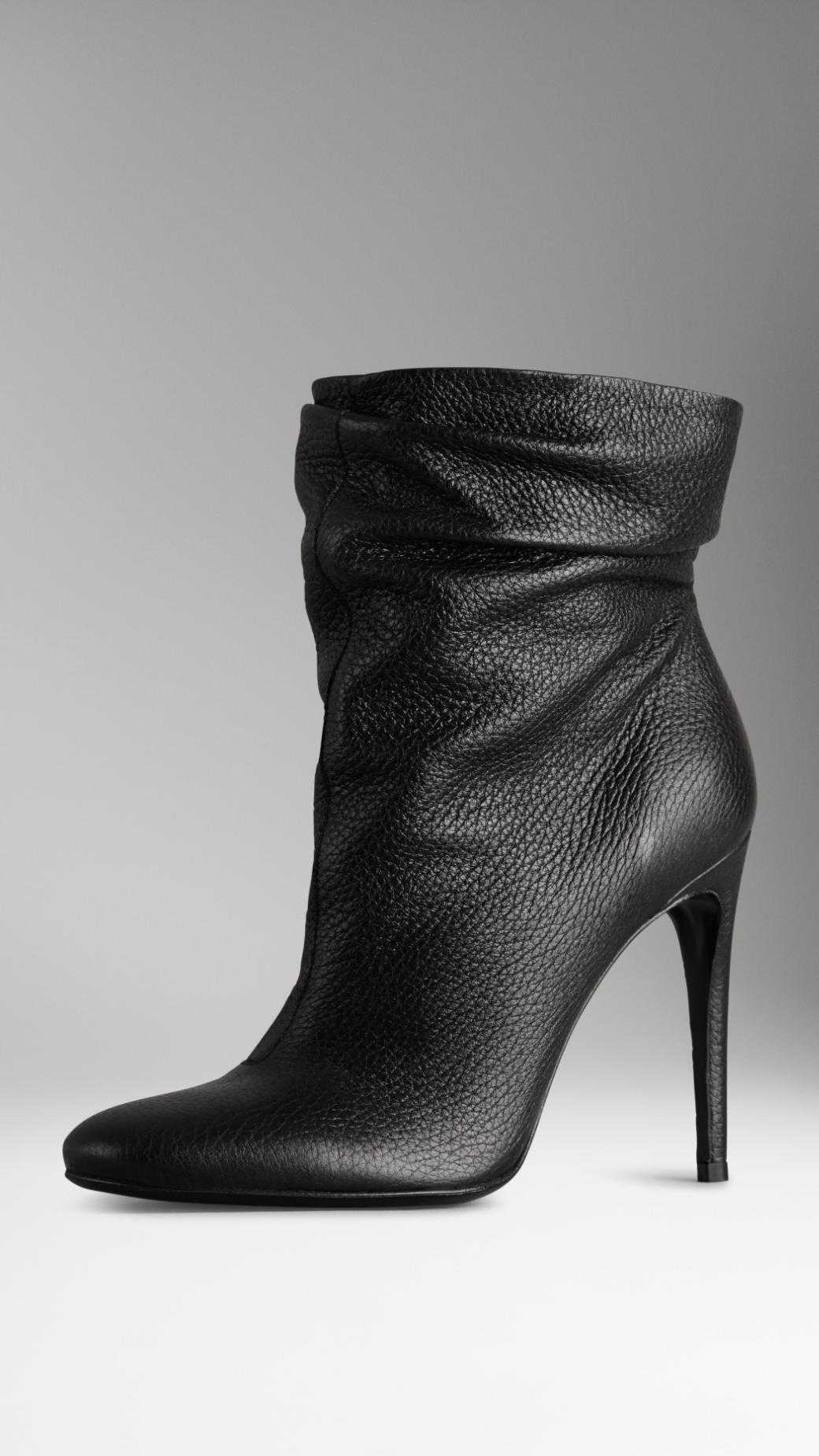 Burberry Deerskin Ankle Boots in Black   Lyst