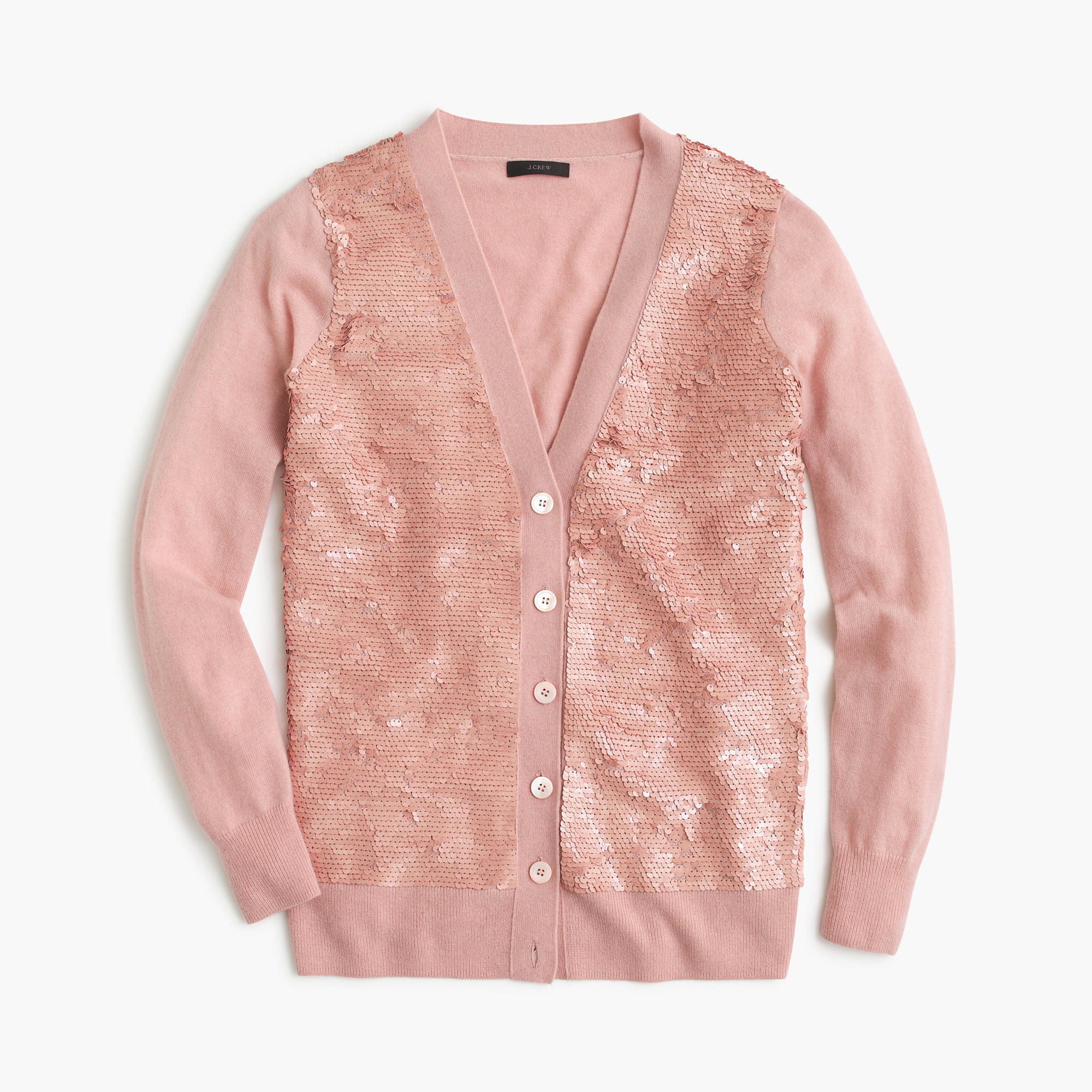 J.crew Sequin Cardigan Sweater in Pink | Lyst