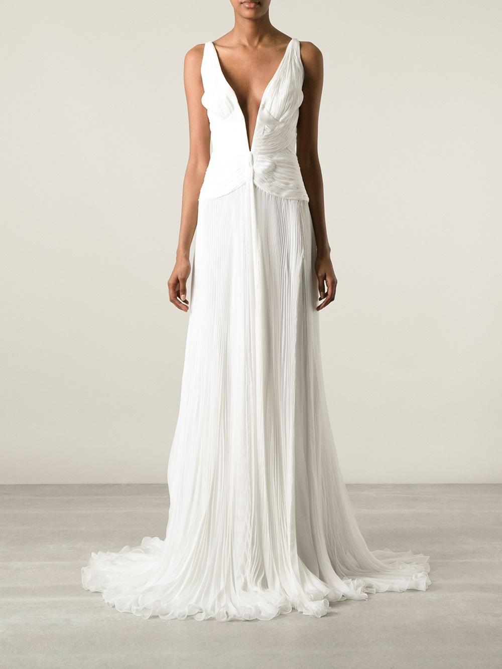 Roberto Cavalli Plunge Neck Evening Dress In White Lyst