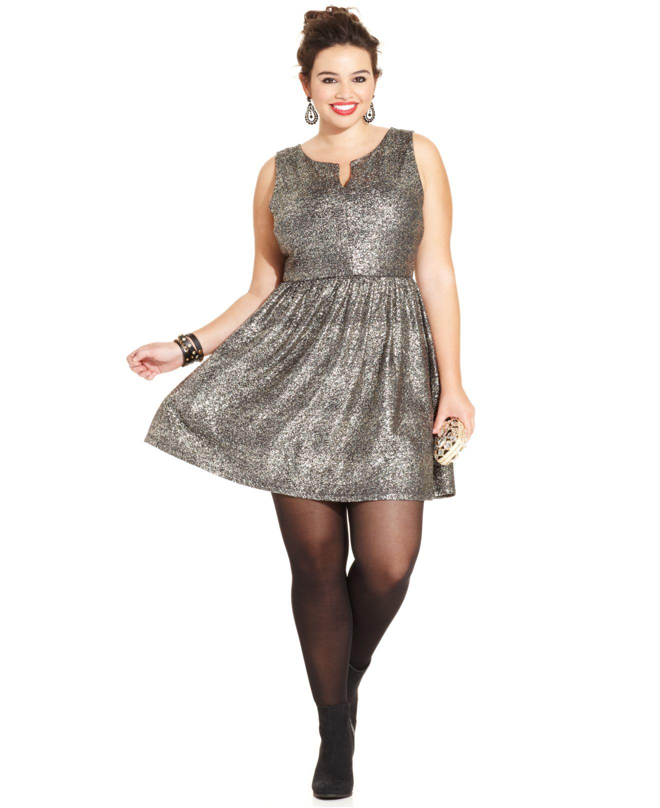 Soprano Plus Size Metallic A-Line Dress in Gray - Lyst