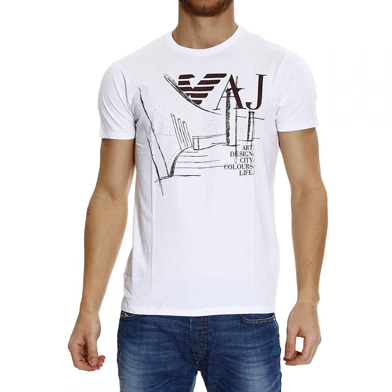 lyst giorgio armani t shirt half sleeve crew neck band logo in white for men. Black Bedroom Furniture Sets. Home Design Ideas