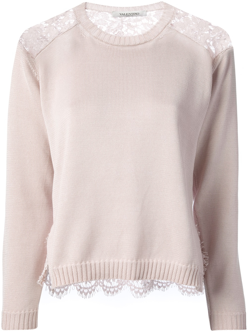 Valentino Lace Panel Sweater in Purple | Lyst