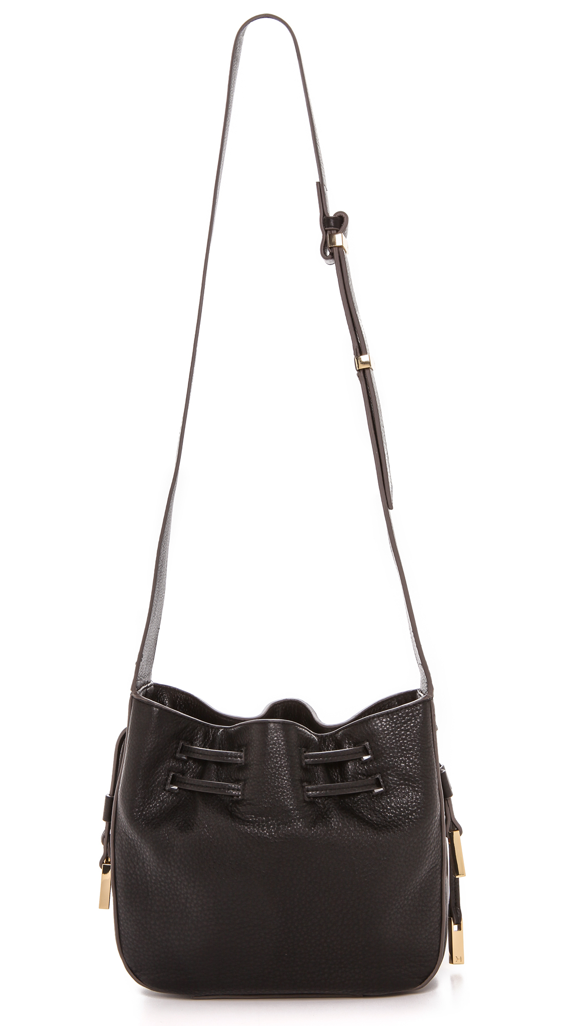 ebe98420c8 Lyst - Halston Bianca Drawstring Bucket Bag - Black in Black