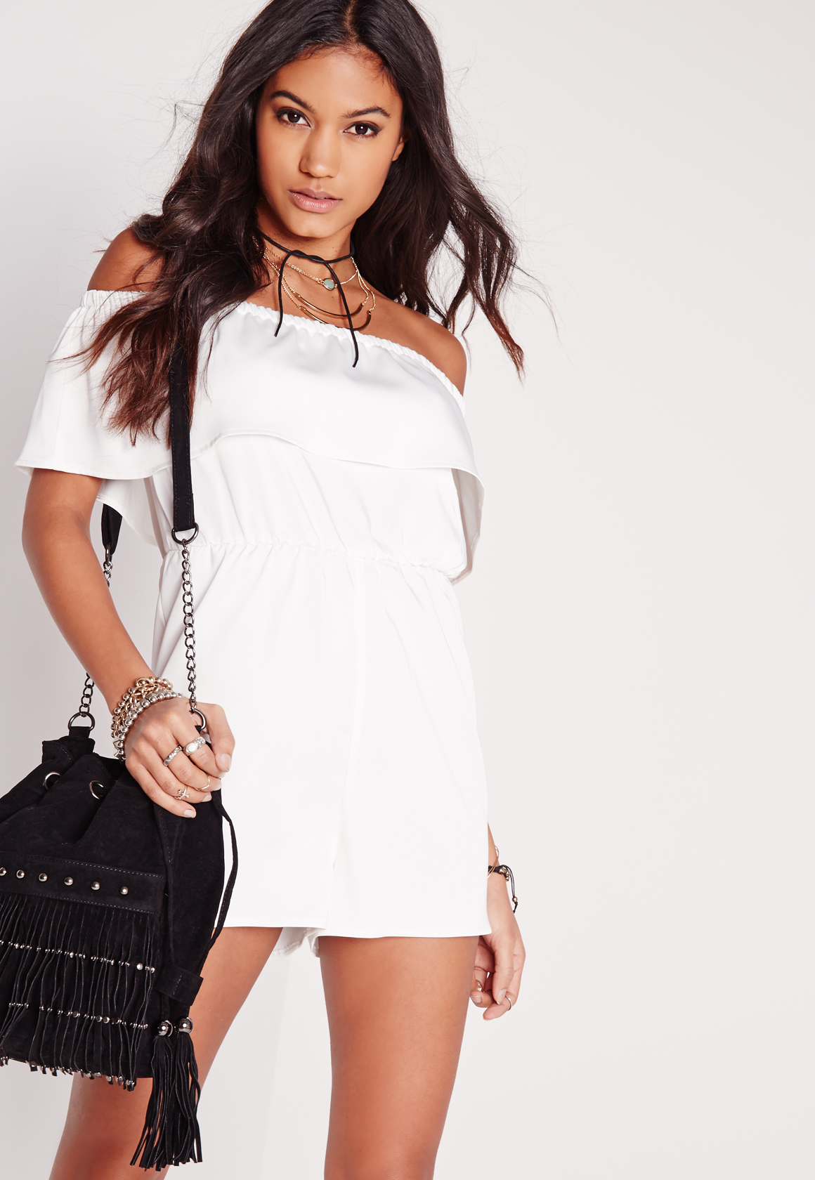 6a80c7f884d5 Missguided Crepe Bardot Playsuit White in White - Lyst