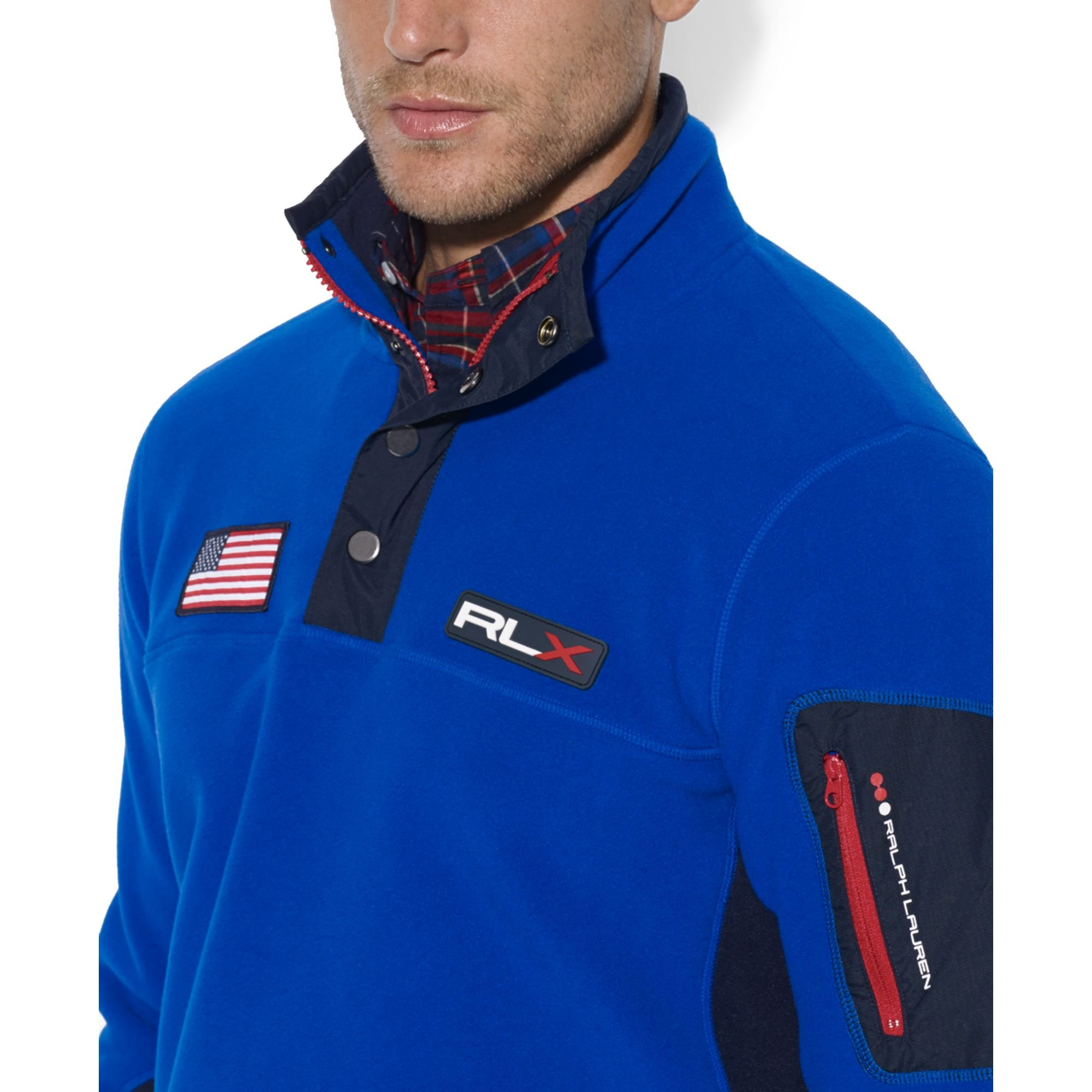 Ralph lauren Usa Polar Mock Neck Fleece Jacket in Blue for Men | Lyst