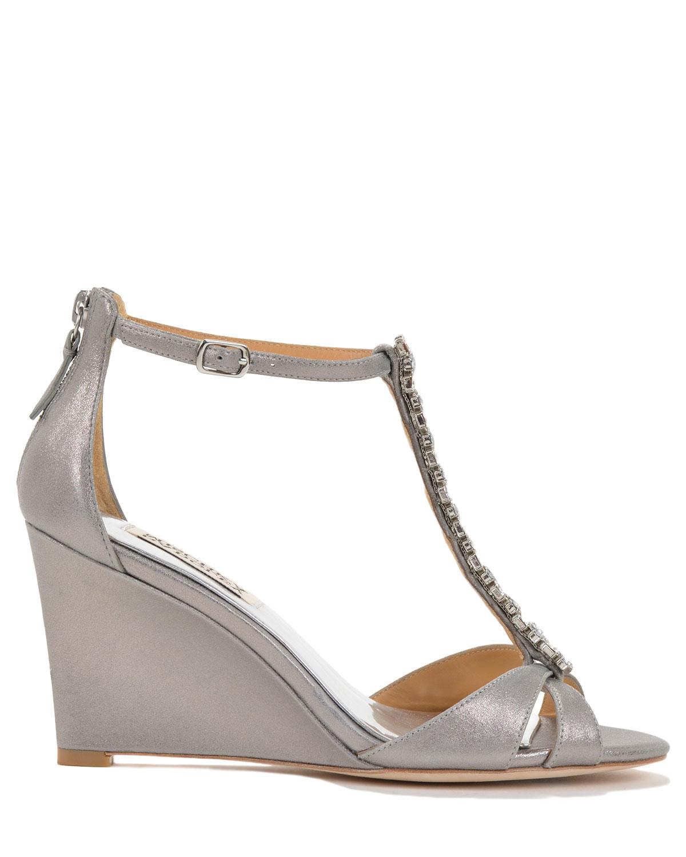 badgley mischka ii wedge evening shoe in metallic