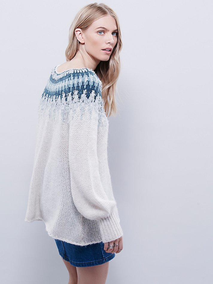 Free people Baltic Fairisle Pullover in White | Lyst