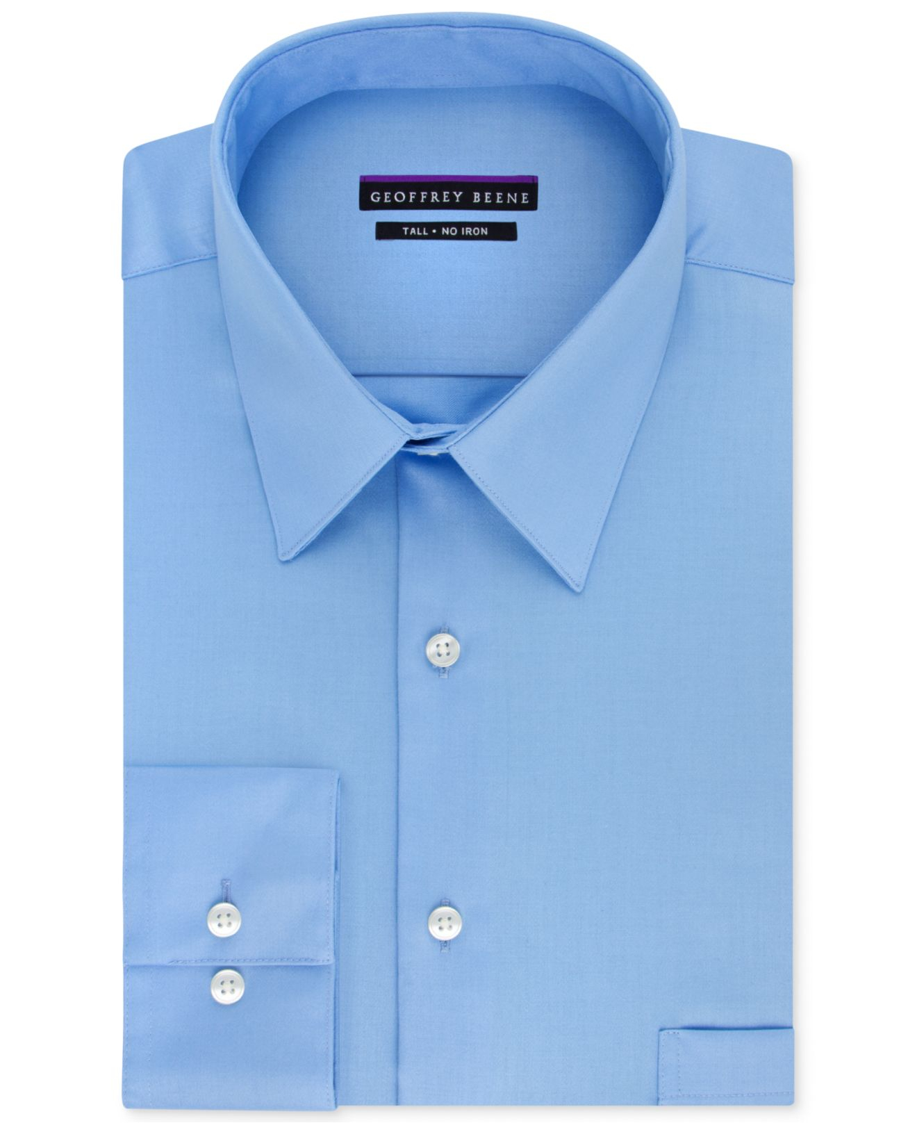 Geoffrey Beene Big And Tall Classic-fit Wrinkle-free Sateen Solid Dress Shirt In Blue For Men ...