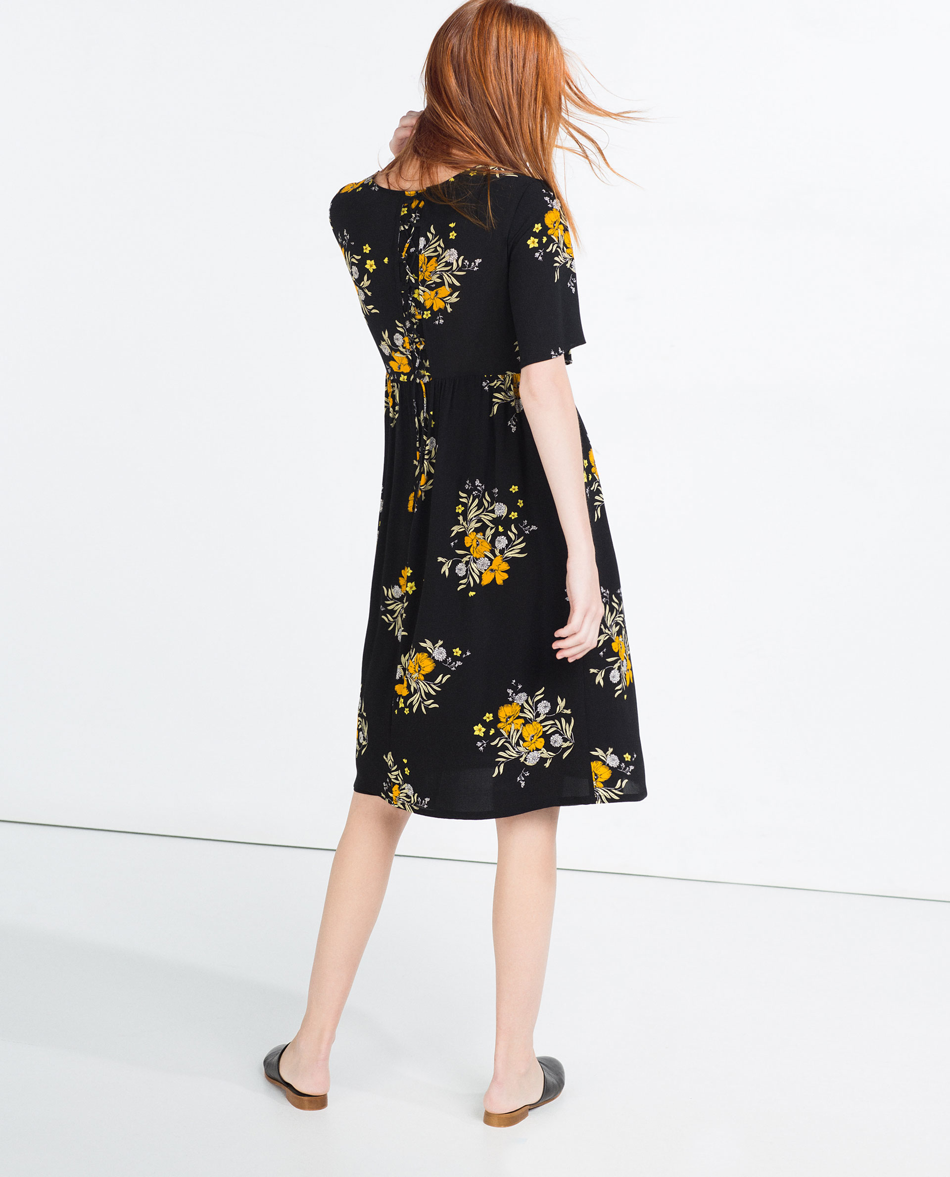 Zara floral dress in black lyst for Zara black t shirt dress