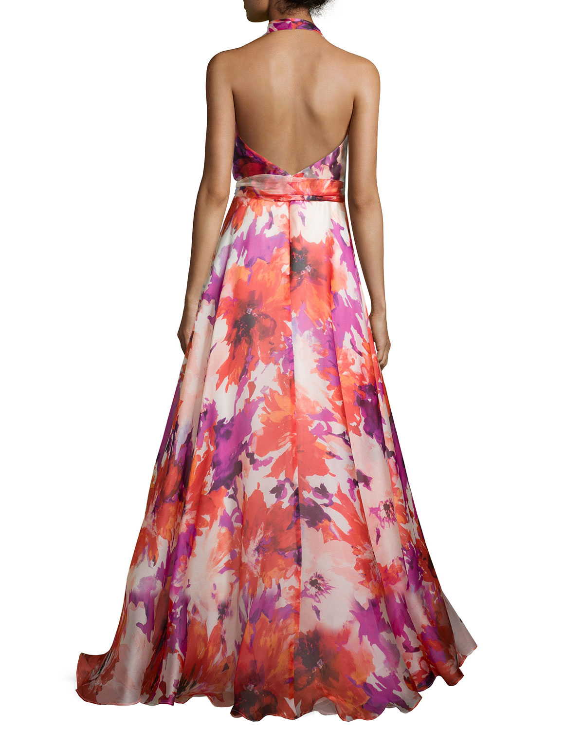 7349e14a55dc Carmen Marc Valvo Floral-Print Silk Gown in Red - Lyst