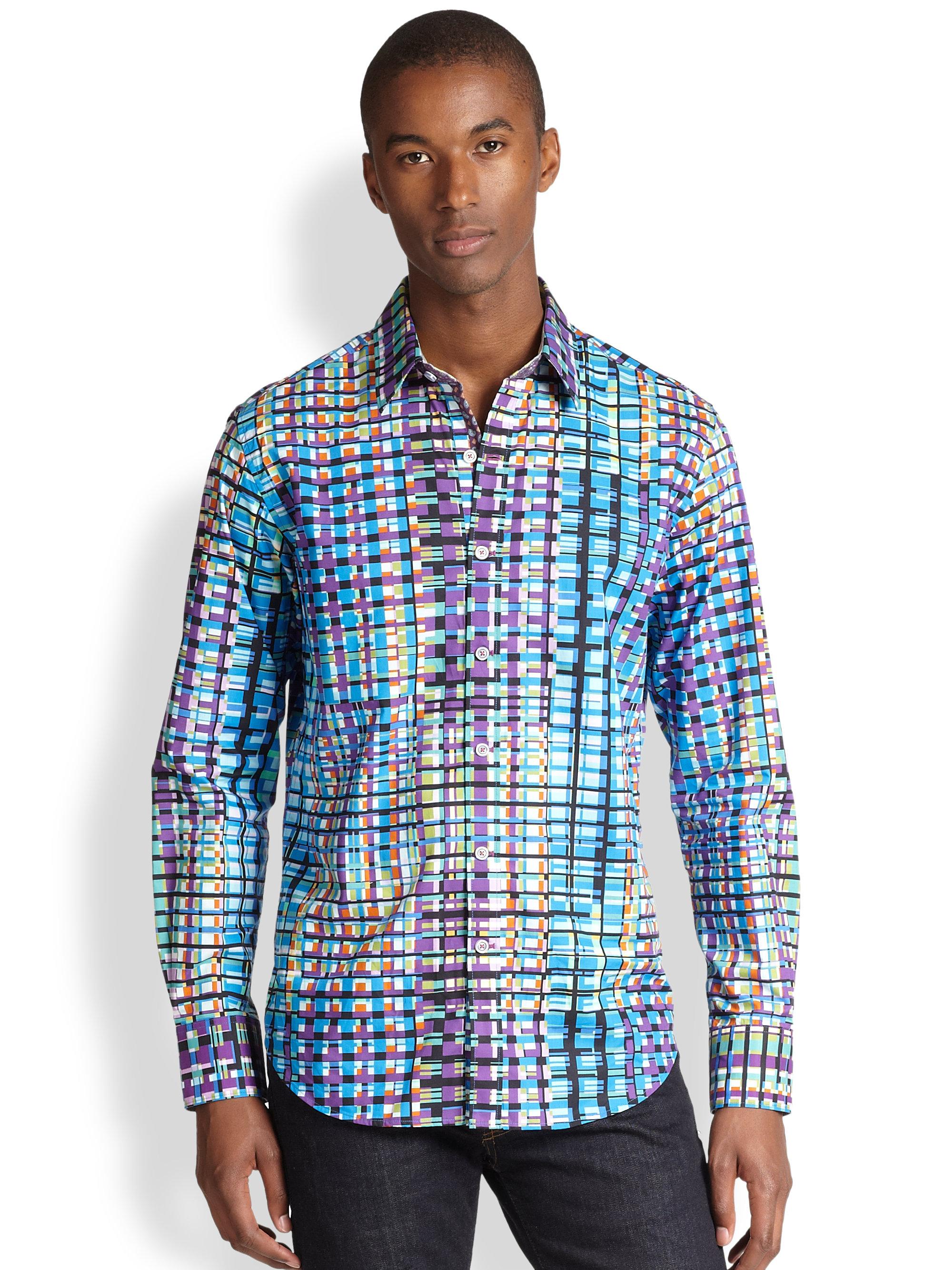 Vivienne Westwood T Shirt Robert Graham Meadows Woven Cotton Sportshirt In Blue For