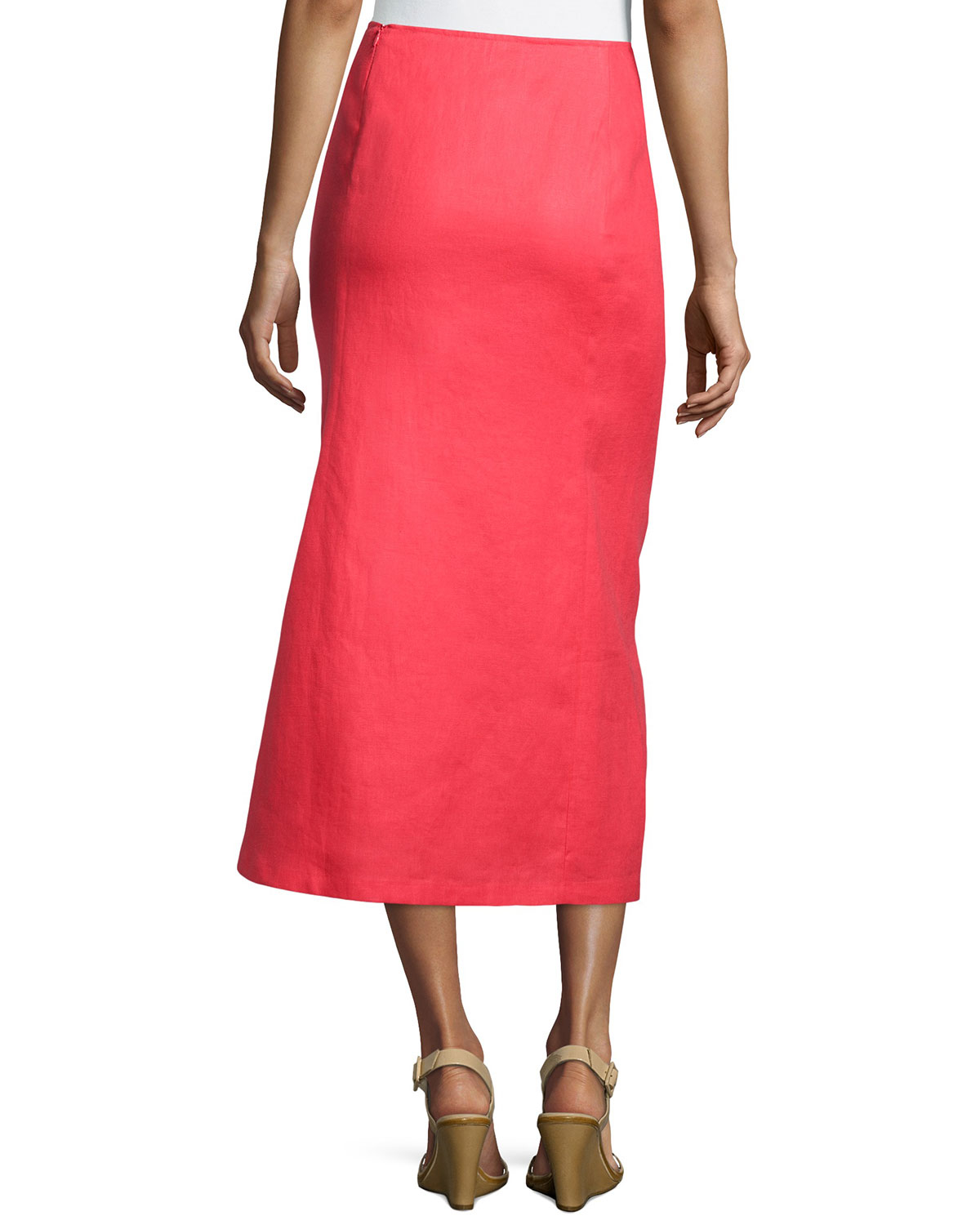 lafayette 148 new york linen a line midi skirt in