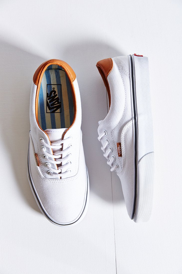 vans era 59 washed canvas leather sneaker in white lyst