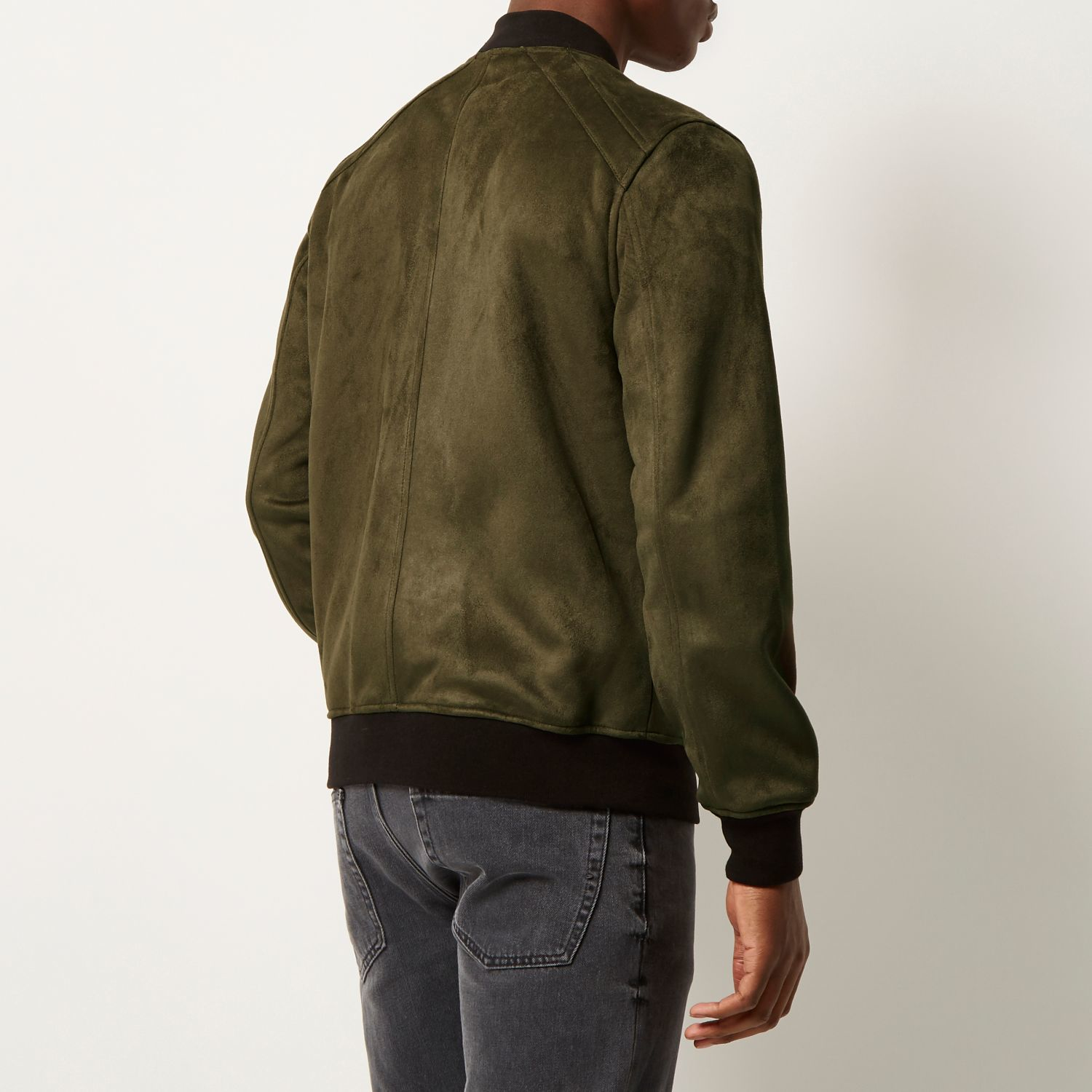 River Island Khaki Faux Suede Bomber Jacket In Green For