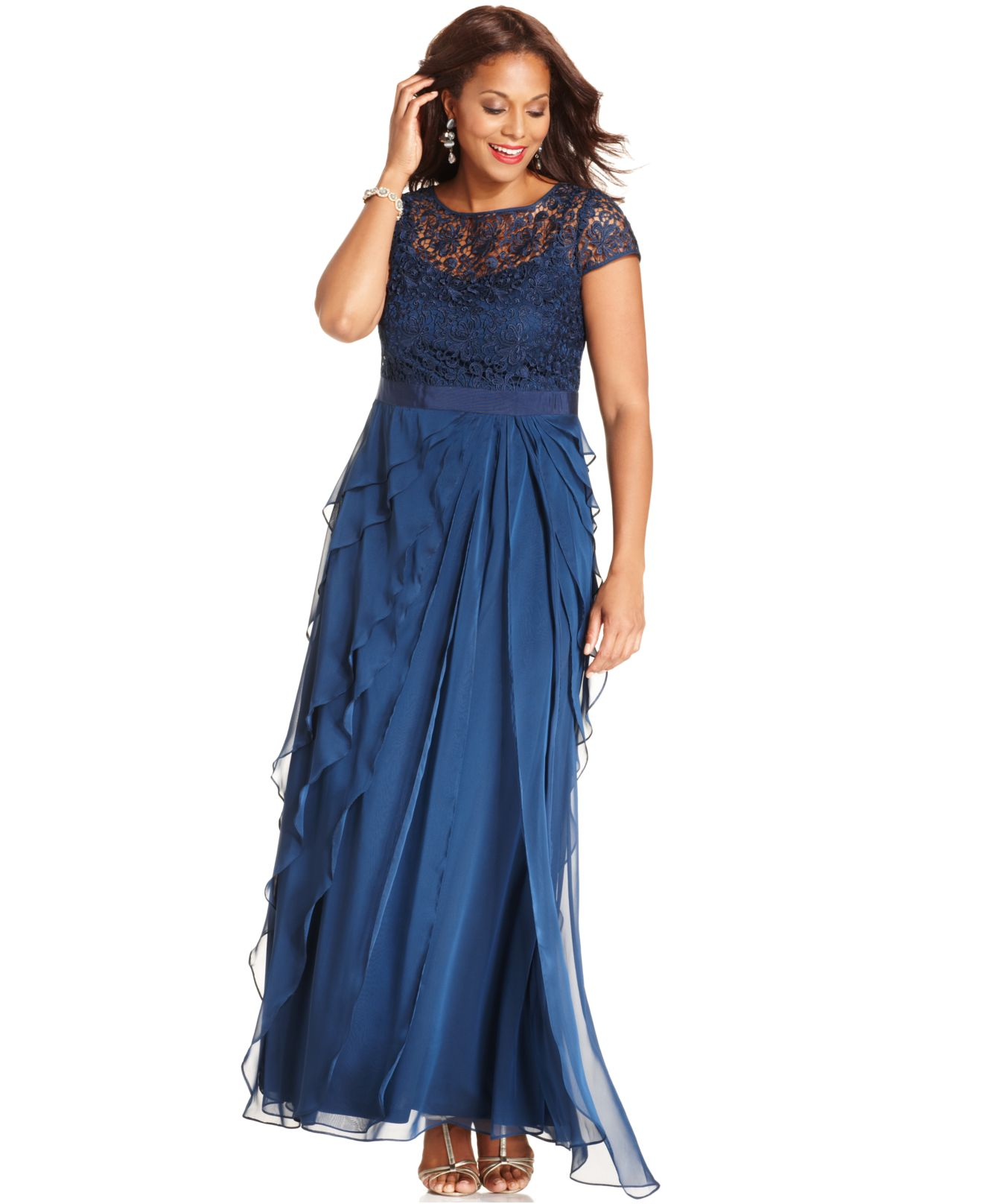 Adrianna papell Plus Size Cap-sleeve Lace Tiered Gown in Blue | Lyst