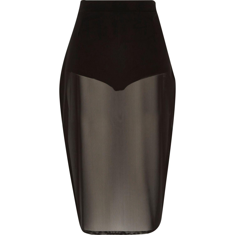 2eb3d2ade0 River Island Black Mesh Sheer Pencil Skirt in Black - Lyst